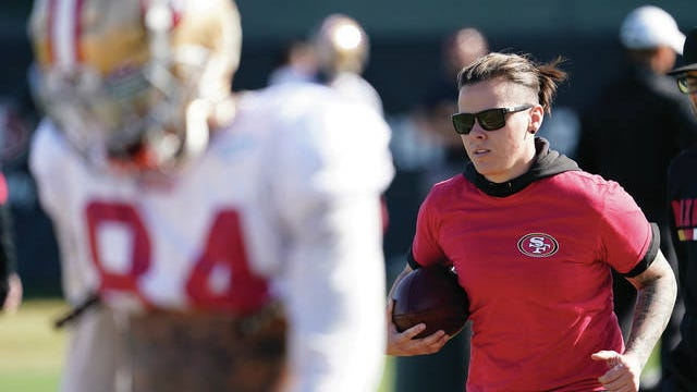 Katie Sowers, an offensive assistant with the San Francisco 49ers, hails from south-central Kansas, decidedly part of the Chiefs Kingdom. It's expected to challenge some allegiances for the Feb. 2 meeting in Super Bowl LIV.