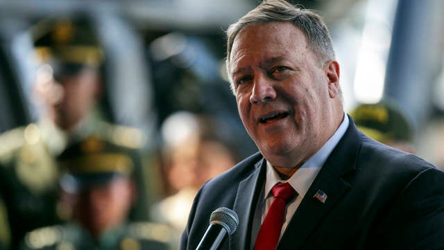 U.S. Secretary of State Mike Pompeo speaks during a visit to an anti-narcotics police base in Bogota, Colombia on Jan. 21.