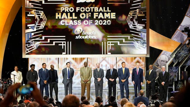 The Hall of Fame Class of 2020 stand on stage at the NFL Honors football award show on Feb. 1 in Miami.