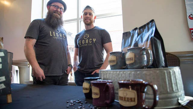 Joshua Merrill and Brian Ward of Legacy Coffee pose at the Best of Spring Hill Thompson's Station awards on Tuesday, May 22, 2019.