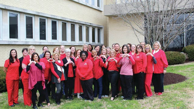 Maury Regional Health joins the American Heart Association's annual Go Red Day observance Friday, with staff members and physicians wearing red to increase awareness of women's heart health. Some of those participating include, from left, Lynn Lott, Debra Shoaff, Amanda Brown, Carey Albright, Michelle Hargrove, Tiffany Crews, Jennifer Spencer, Debra Lyons, Ginger Dickens, Christy Wright, Hannah Hogan, Sue MacArthur, Michelle Frierson, Cathy Malone, Juleta Roby, Jackie Miles, Barbara Purcell, Tracy Ferguson, Sarah Peters, Robin Graves, Jamie Henson, Savannah Chapman, Scott Hayes, Jackie Hill, Allison Carlisle, Ginger Cothran, Holly England, Lisa Chambers, Connie Thomason, Kim Morrow and Karen Miller.