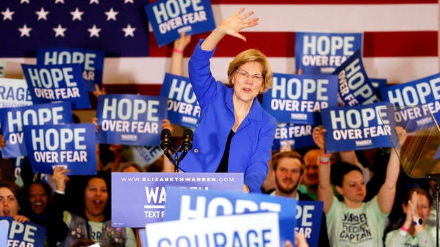 Democratic presidential candidate Sen. Elizabeth Warren, D-Mass., speaks to supporters at a caucus night campaign rally, on Feb. 3 in Des Moines, Iowa.