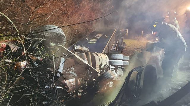 Spring Hill Fire Department , Maury County Fire Department and Maury County Office of Emergency Management responded to the scene of an overturned tractor-trailer near near McCormick Creek on Friday, Feb. 7, 2020.