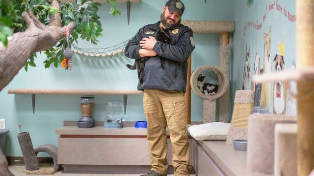 Maury County Animal Shelter Director Jack Cooper holds Eddie inside a new cat room at the facility on Thursday.