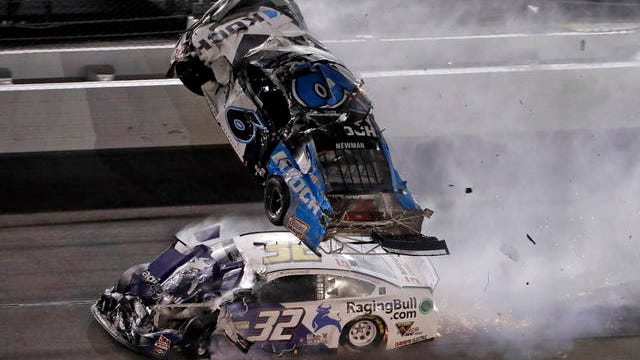 Ryan Newman (6) goes airborne after crashing with Corey LaJoie (32) on the final lap of Monday's Daytona 500. Later reports indicated that Newman was in serious condition, but sustained non-life threatening injuries.