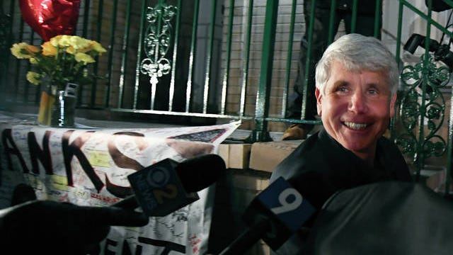 Former Illinois Gov. Rod Blagojevich smiles as he arrives home in Chicago on Feb. 19 after his release from Colorado prison late Tuesday. Blagojevich walked out of prison after President Donald Trump cut short the 14-year prison sentence handed to the former Illinois governor for political corruption.