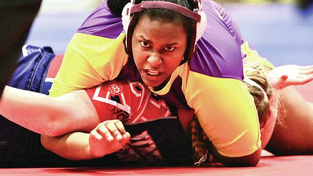 Columbia Central junior Trinity Robinson pinned Union County's Nayana Howard in the opening period of the 215-pound TSSAA Girls State Wrestling Tournament quarterfinals Friday at the Williamson County Ag Expo. Robinson won two of her four state tourney matches and placed fourth, becoming the first Maury County wrestler to place at the state level.