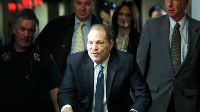 Harvey Weinstein arrives at a Manhattan courthouse for jury deliberations in his rape trial Monday in New York. Weinstein was convicted Monday of rape and sexual assault against two women and was immediately handcuffed and led off to jail, sealing his dizzying fall from powerful Hollywood studio boss to archvillain of the #MeToo movement.