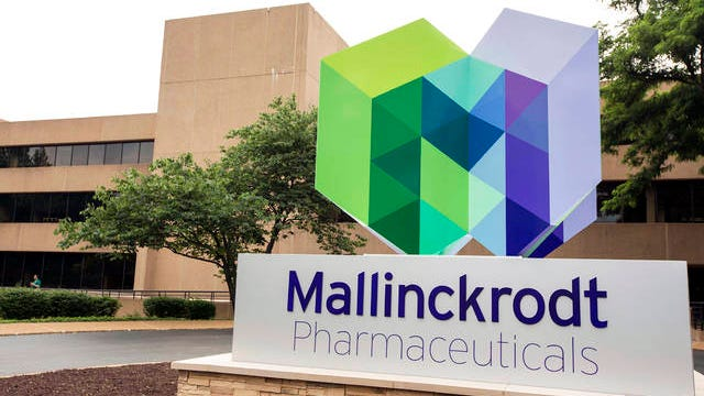 In this July 1, 2013 file photo, is the exterior of the Mallinckrodt Pharmaceuticals office in St. Louis. The generic drugmaker Mallinckrodt has a tentative $1.6 billion deal to settle lawsuits over its role in the U.S. opioid crisis, it announced Tuesday. The deal is intended to end hundreds of lawsuits faced by the company over opioids.