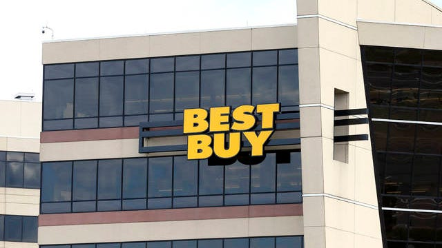 In this Aug. 27, 2019 photo, the Best Buy logo is shown on the Minnesota-based company headquarters in Richfield, Minn. The company is under fire for a lease-to-own program that some say is taking advantage of cash-strapped shoppers.