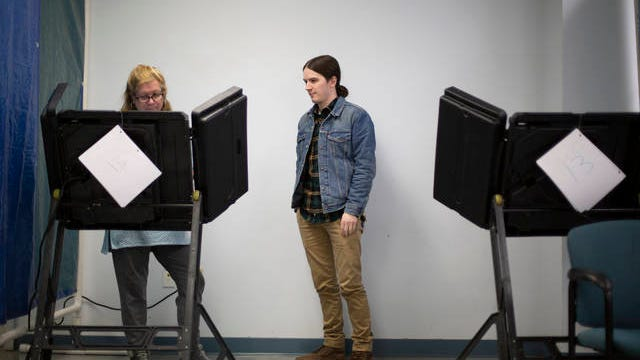 Vice Chair of the Maury County Democratic Party AJ Holmes votes early at the Maury County Election Commission in Columbia on Saturday, Feb. 22, 2020.