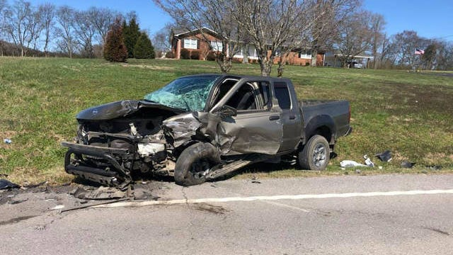 A sedan and a pickup truck collide on Baptist Church Road in Maury County , leaving the driver of the sedan trapped inside their vehicle. Firefighters extricated the trapped driver using heavy tools to free the passenger.