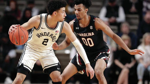 Vanderbilt freshman Scotty Pippen Jr. (2) matched a career high Saturday, scoring 21 points as the Commodores defeated visiting South Carolina 83-74 for their second straight SEC victory and their second league win at Memorial Gym this season.