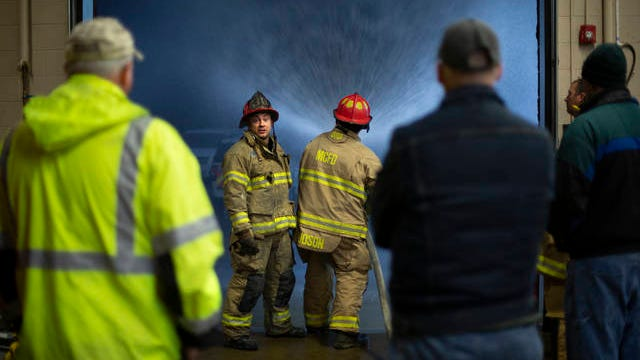 Maury County Fire Department Lt. Chuck Estes leads a a group of trainees in a lesson on the use of a fire hose at MCFD Station 1 on Feb. 24.