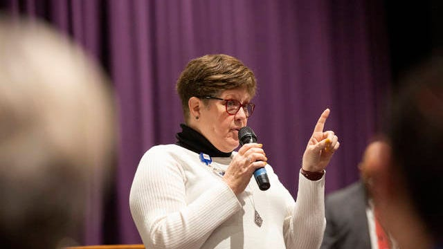 Sue Ogg with the Tennessee Education Association answers questions from district educators during a forum at Columbia Central High School on Feb. 11.