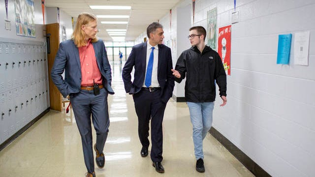 U.S. Senate candidate Manny Sethi tours Mt. Pleasant High School in Maury County with Principal Ryan Jackson, left, and senior Clark Hill on Tuesday, March 10, 2020.
