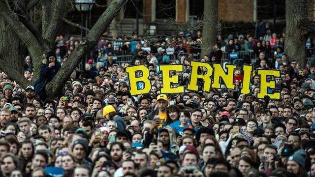 Thousands of supporters listen as Sen. Bernie Sanders, I-Vt., speaks during a rally at the University of Michigan on Sunday.