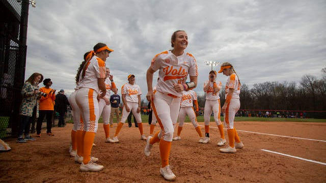 Chelsea Seggern, No. 43 is cheered onto the playing field as the Lady Vols are introduced at the Midstate Classic doubleheader at the Ridley Park Sports Complex in Columbia on Tuesday, March 12, 2019. (Staff photo by Mike Christen) University of Tennessee players run onto the field during introductions at the 2019 Midstate Classic in Columbia.