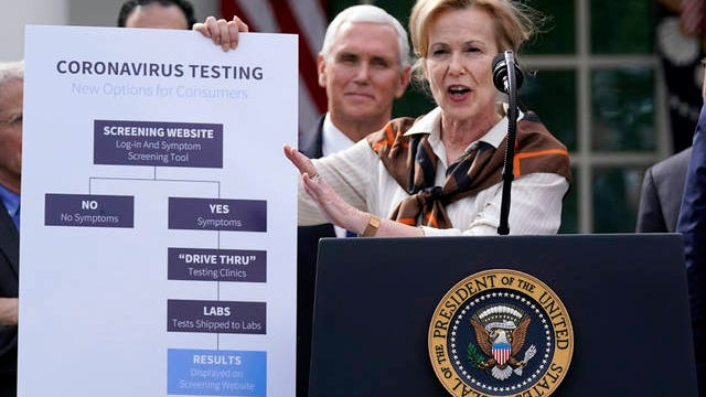 Dr. Deborah Birx, White House coronavirus response coordinator, speaks during a news conference about the coronavirus in the Rose Garden of the White House, Friday in Washington.