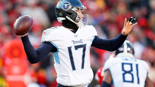 Tennessee Titans' Ryan Tannehill throws during the first half of the NFL AFC Championship football game against the Kansas City Chiefs on Jan. 19 in Kansas City, Mo.