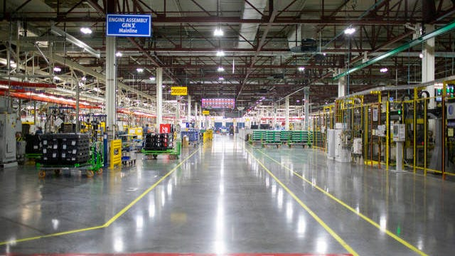 Long hallways divide bays of the Global Propulsion Systems assembly line inside the Spring Hill manufacturing facility on Jan. 16, 2020.