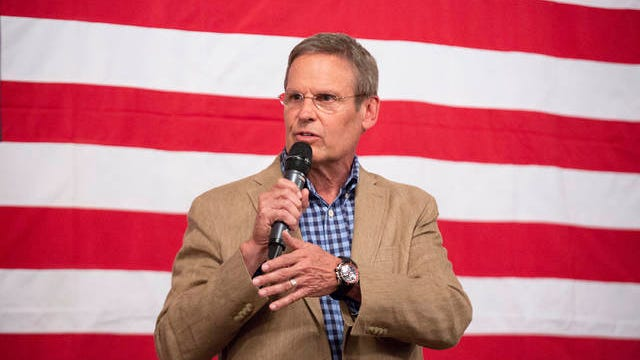 Gov. Bill Lee speaks at a fundraising event for Rep. Scott Cepicky, R-Columbia, held at the Westbury House on the Square in Columbia on Aug. 5, 2019.
