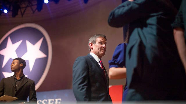 Tennessee Gov. Bill Lee departs the stage of the War Memorial Auditorium in Nashville after being sworn in to office on Saturday, Jan. 19, 2019.