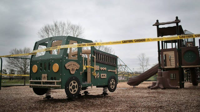 A playground at Maury County Park in Columbia is taped off to the public in an effort to prevent the spread of the coronavirus in southern Middle Tennessee.