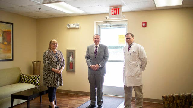 Maury Regional Administrative Director of Emergency Services Kathy Watts, Chief Executive Officer Alan Watson and Chief Medical Officer Chris Turner pose inside the Annex of the Maury Regional Medical Center in Columbia on Friday, March 27, 2020.