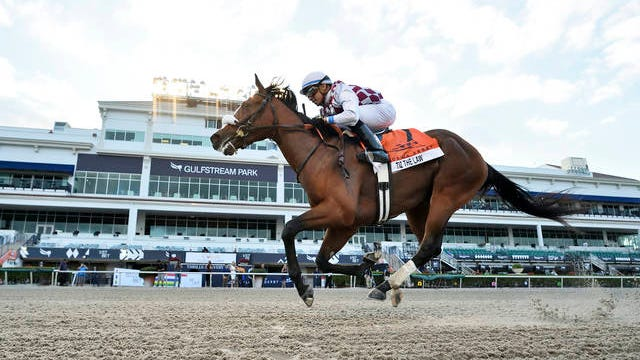In this image provided by Gulfstream Park, Tiz the Law, riddren by Manuel Franco, wins the Florida Derby horse race at Gulfstream Park on Saturday.