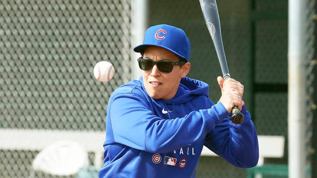 Chicago Cubs minor league hitting coach Rachel Folden hits infield ground balls at the Cubs spring trainng facility in Mesa, Ariz. on Feb. 5.