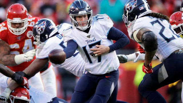 Tennessee Titans quarterback Ryan Tannehill (17) during the second half of the NFL AFC Championship football game against the Kansas City Chiefs on Jan. 19 in Kansas City, MO.