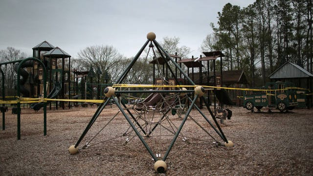 A playground at Maury County Park in Columbia is taped off to the public in an effort to prevent the spread of the coronavirus in southern Middle Tennessee on Monday.