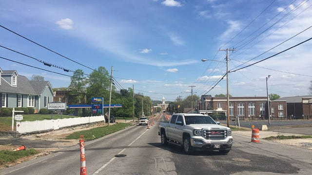 Cars navigate construction on West 7th Street in Columbia on Saturday, April 4, 2020. The Mule Day parade was set for the date but the event was canceled in an effort to prevent the spread of the coronavirus.
