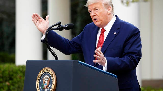 President Donald Trump speaks during a coronavirus task force briefing in the Rose Garden of the White House.
