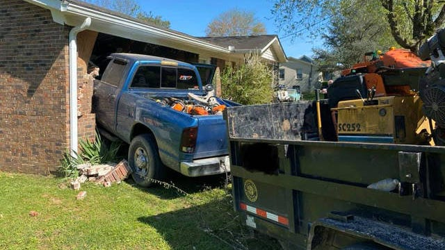 A parked pickup truck crashed into a Maury County home after rolling down a hill on Thursday, April 9, 2020.