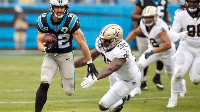 Christian McCaffrey (22) and the Carolina Panthers reached agreement this week on a four-year deal that will pay him $16 million per year, a record for running backs. Last fall, McCaffrey became the third NFL running back to post 1,000 rushing yards and 1,000 receiving yards in the same season.