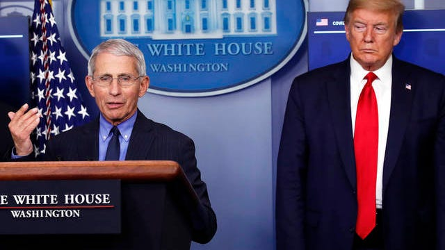 President Donald Trump listens as Dr. Anthony Fauci, director of the National Institute of Allergy and Infectious Diseases, speaks about the coronavirus in the James Brady Press Briefing Room of the White House on April 17 in Washington.