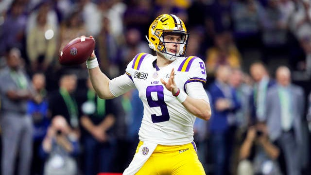 In this Jan. 13 file photo, LSU quarterback Joe Burrow throws a pass against Clemson during the second half of the NCAA College Football Playoff national championship game in New Orleans. The last time the Cincinnati Bengals had the top pick in the draft was 2003 when they took quarterback Carson Palmer, the Heisman Trophy winner from USC. They get to choose first again next week and are expected to take Heisman Trophy winner Burrow.