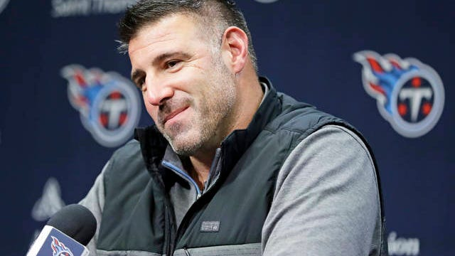 In this Jan. 20 file photo, Tennessee Titans head coach Mike Vrabel listens to a question at a press conference in Nashville.