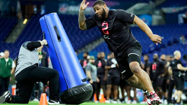 In this Feb. 29 file photo, TCU defensive lineman Ross Blacklock runs a drill at the NFL football scouting combine in Indianapolis. Blacklock was selected by the Houston Texans in the second round of the NFL football draft Friday.