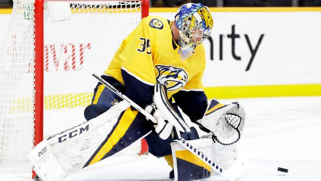 Nashville Predators goaltender Pekka Rinne, of Finland, blocks a shot against the Edmonton Oilers in the first period of an NHL hockey game on March 2 in Nashville.
