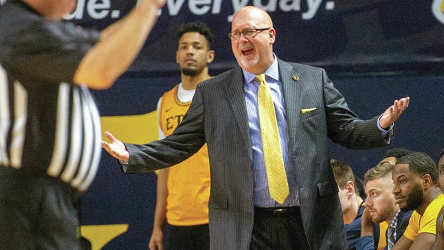East Tennessee State University head coach Steve Forbes questions a call during their game against The Citadel at Freedom Hall in Johnson City. Wake Forest has hired East Tennessee State's Steve Forbes as its men's basketball coach. The school announced the hiring Thursday.