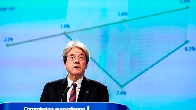 """European Commissioner for the Economy Paolo Gentiloni speaks during a media conference on the economy at EU headquarters in Brussels on Wednesday. The European Union predicted Wednesday """"a recession of historic proportions this year"""" due to the impact of the coronavirus with a drop in output of more than 7 percent, as it released its first official forecast of the damage the pandemic is inflicting on the bloc's economy."""