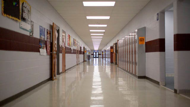 The halls of Spring Hill High School are empty on the second day of a month long closure to prevent the spread of COVID-10 in Tennessee on Wednesday, March 18, 2020.
