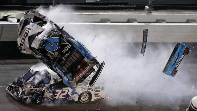 Ryan Newman (6) goes airborne after crashing into Corey LaJoie (32) during the NASCAR Daytona 500 race Feb. 17 at Daytona International Speedway in Daytona Beach, Fla.