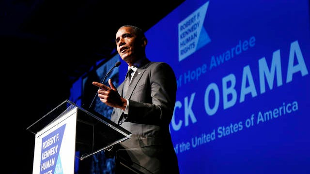 Former President Barack Obama accepts the Robert F. Kennedy Human Rights Ripple of Hope Award at a ceremony on Dec. 12, 2018 in New York.