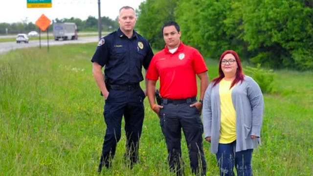 Spring Hill Lt. Justin Whitwell, training officer Ty Hadley and police evidence technician Melissa Wilson stand together on Saturn Parkway on May 11, 2020, near the location where the body of Pamela Rose Aldridge McCall was found in 1991. The group recently helped solve McCall's cold case.