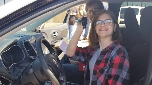 Strive to Drive winner Kayla Torango picks up her new Jeep Cherokee from Columbia Chrysler Dodge Jeep Ram Fiat.
