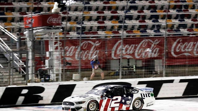 Brad Keselowski wins the NASCAR Cup Series auto race at Charlotte Motor Speedway early Monday in Concord, N.C.